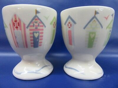Beach Hut Egg Cup - PAIR - Gift Boxed - New