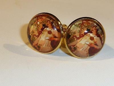 Gold Pl. Cufflinks - Mucha Art Nouveau Design - Gift Bag - Free Uk P&p.....w0947