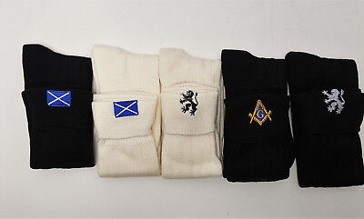 Scottish Embroidered Wool Mix Kilt Socks 4-7 8-10 11-13 Lion Saltire Masonic