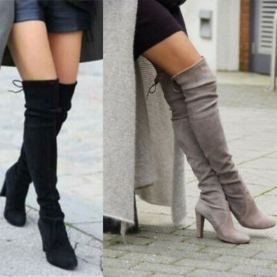Women Round Toe Thigh High Over The Knee Boots Block High Heel Slim Size 34-43