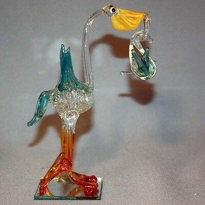 Antique Vintage Figurine GERMANY HAND BLOWN GLASS STORK Delivering BABY Carrying