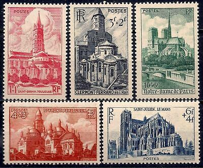 France 1947 Cathedrals Churches Buildings Architecture Religion 5v MNH