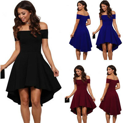 UK Women Party Evening Skater Off Shoulder Dress Cocktail Prom Bridesmaid Ladies