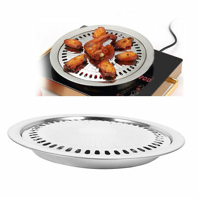 Indoor Outdoor BBQ Smokeless Stovetop Grill Non-stick Roasting Pan Round Grill