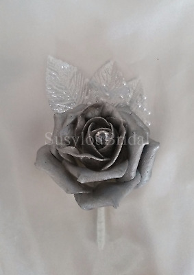 Silver Wedding Bouquet Posy Buttonhole Bridesmaid Bride Single Shiny Rose Pearls