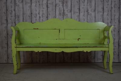 Antique Painted Pine Settle Bench