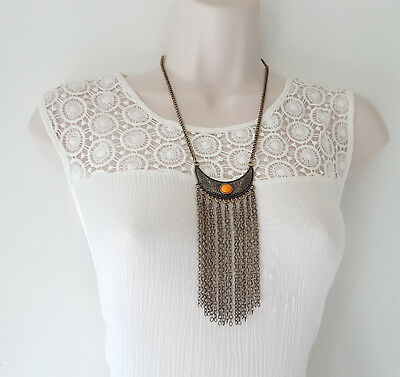 """Gorgeous 18"""" long antique gold tone boho style waterfall chain tassel necklace"""