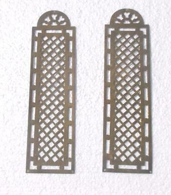 Pair Vintage French Pierced Brass Door Finger Plates #MM1