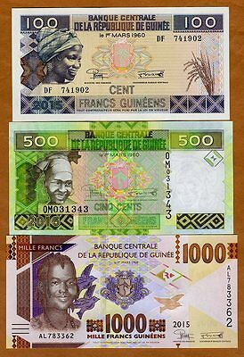 SET Guinea, 100;500;1000 francs, 2015 (2016), Pick New, UNC > Redesigned
