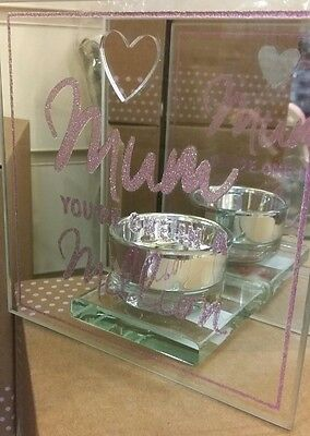 Mirror Glass Glitter Pink Tea Light Holder MUM. Perfect Gift For Her