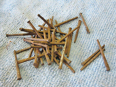 "Lot 1 1/8"" Square head nails old barn display hook hanger rusty iron rustic Vtg."