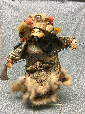Antique Chinese Theater Opera hand Puppet composition bead embroidered fur trim