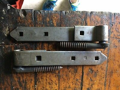 "2 Vintage Hager 8"" Strap Hinges With Pintles Post Pins,"
