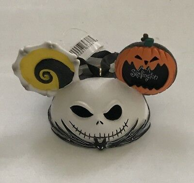 Nightmare Before Christmas Jack Skellington and Zero Mickey Ear Hat Ornament