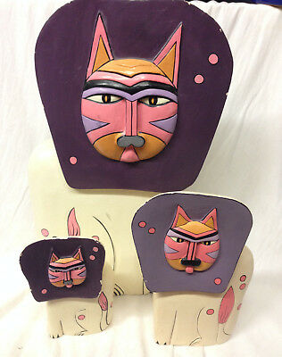 """Amazing Grace Family Of 3 Wood Lions Cats Purple Mane Pink Face Abstract 14.5"""""""