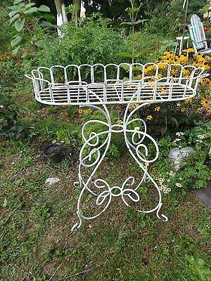 Vintage Wrought Iron Plant Stand White