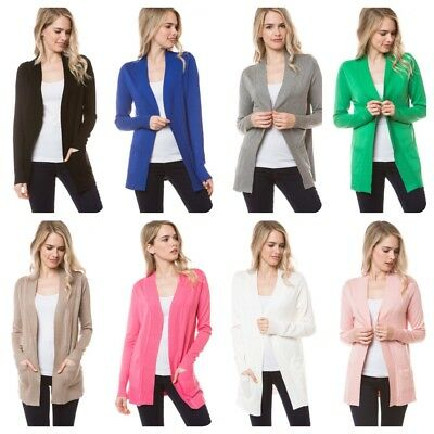 New Women Cardigan Long Sleeve Solid Open Front Sweater  S M L XL (USA SELLER)
