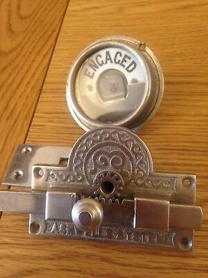 Original Victorian Ashwells System Nickel On Brass Toilet Lock Vacant/Engaged