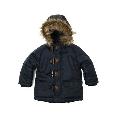 Baby Toddler Boys Padded Parka Puffa Jacket Navy (12 Months - 3 Yrs)