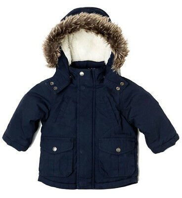 Baby Toddler Boys Navy Wax Parka Coat (12 Months - 3 Yrs)