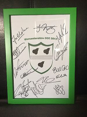 Worcestershire Cricket NEW 2017 Hand Signed Framed A4 Autograph Sheet