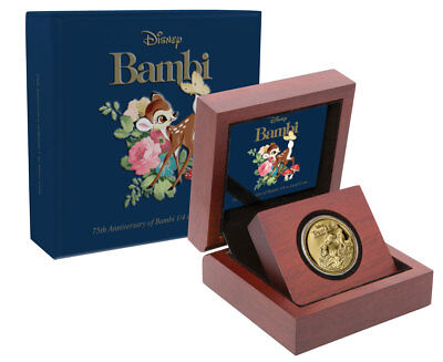 2017 Niue Iconic Disney Bambi 75th Anniversary 1/4oz Gold Proof $25 OGP SKU48694