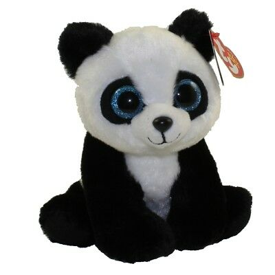 "Ty 6"" Beanie Baby Boo BABOO the Panda Stuffed Animal Plush w/ MWMT's Heart Tags"
