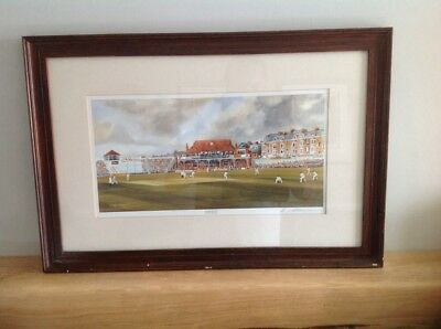 Signed Terry Harrison Cricket Print Scarborough Cricket Ground Festival