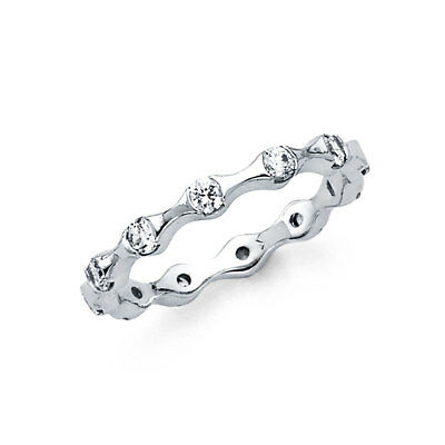 14k Solid White Gold 1 Ct Diamond Eternity Band Stackable Ring Wedding Bands