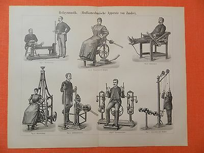 Heilgymnastik  Fitness Training Kniebeuger Holzstich 1895