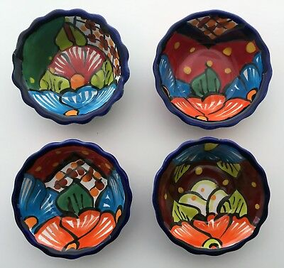Set of 4 Mexican Talavera Pots #101 Hand Painted & Molded Out of Red Clay - NEW!