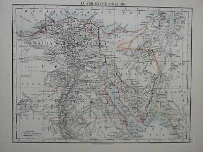1897 Victorian Map ~ Lower Egypt Sinai Mouth Of The Nile Alexandria Cairo