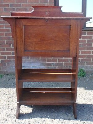 Harris Lebus Victorian antique Arts & Crafts solid oak students bureau bookcase