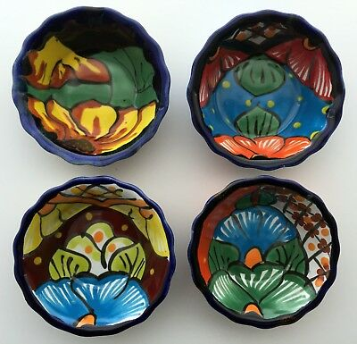 Set of 4 Mexican Talavera Pots #201 Hand Painted & Molded Out of Red Clay - NEW!