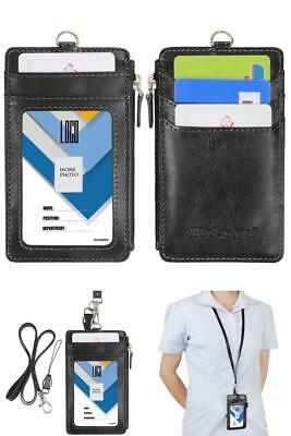 Black two Sided PU Leather ID Card Badge Holder Zipper pocket Neck Lanyard Strap