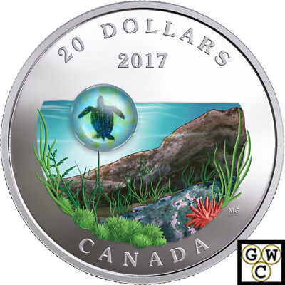 2017 'Sea Turtle-Under the Sea' Color Prf $20 Silver Coin 1oz .9999Fine(18239)NT