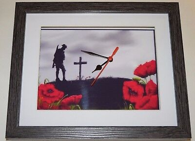 ww1 army soldier cross 1914 - 1918 10 X 8 BOX FRAME PICTURE CLOCK