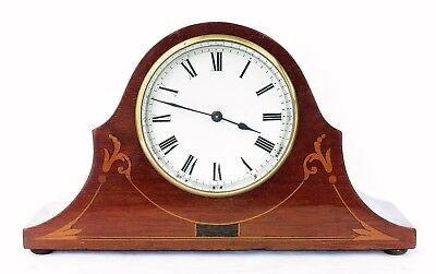 Antique Art Nouveau Inlaid Mahogany French Mantel Clock, Serviced, Working Well