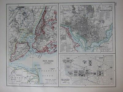 1897 Victorian Map ~ New York City Plan ~ Washington With Avenues The Capitol
