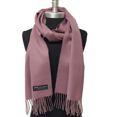 New 100% CASHMERE SCARF WRAP MADE IN SCOTLAND SOLID DESIGN SUPER SOFT Wool Mauve