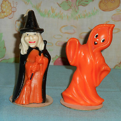 vintage Halloween GURLEY CANDLE 5-inch orange ghost & witch lot