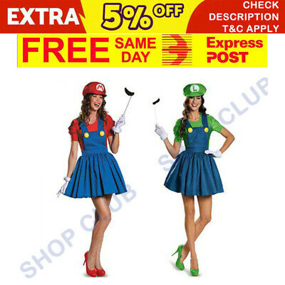 Womens Super Mario Luigi Brothers Fancy Dress Nintendo Party Costume Halloween