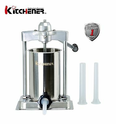 KITCHENER- Heavy Duty Stainless Steel Sausage Stuffer/Filler/Maker 10-lbs Cap.