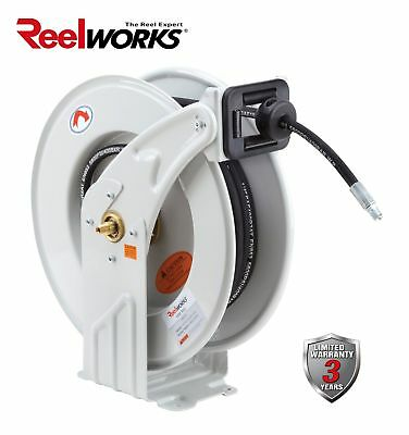 "REELWORKS Heavy Duty GREASE Spring Driven Hose Reel 1/4"" x 50 Ft. S.A.E"