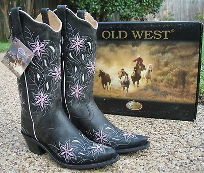 dc5c0195437 NEW LADIES OLD WEST Black Pink All Leather Snip Toe Fashion Western Boots  LF1593