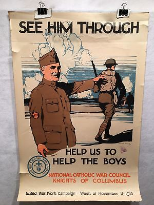 "WW1 ""See Him Through"" National Catholic War Council Poster (20"" X 30"") 1918"