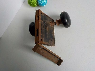Antique Door Knob Set Handle Black Porcelain and Metal Rustic Charm