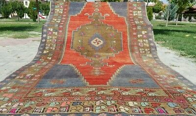 Rare Antique 1900-1939s Wool Pile 5x9ft Natural Dyes Tribal  Rug Turkey
