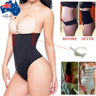 AU High Waist Trainer Slim Tummy Control Body Shaper Thong Shapewear Underwear