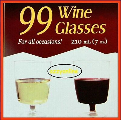 99 Disposable Wine Glasses Clear - 210ml Red White Wine Drink Plastic Cups Bulk